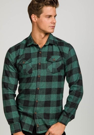 Koszula męska flanelowa z długim rękawem zielona Denley 1770