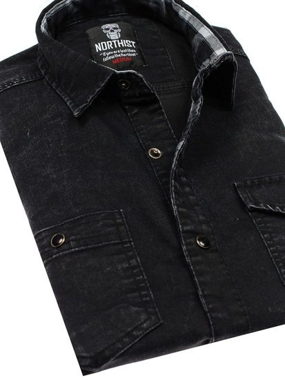Koszula męska jeansowa z długim rękawem czarna Denley 2050