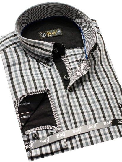 Koszula męska w kratę vichy z długim rękawem czarna Bolf 4712