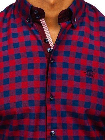 Koszula męska w kratę z długim rękawem bordowa Bolf 4701