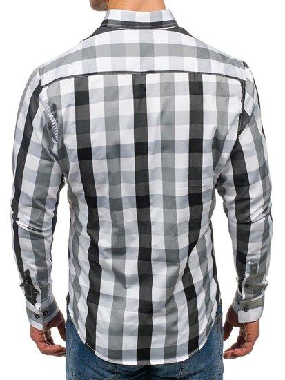Koszula męska w kratę z długim rękawem czarna Denley 4791