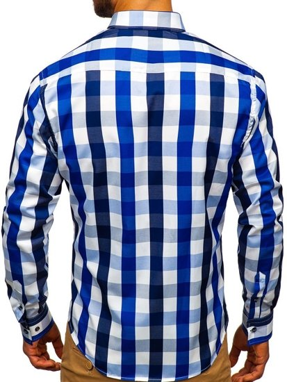 Koszula męska w kratę z długim rękawem granatowa Bolf 4791