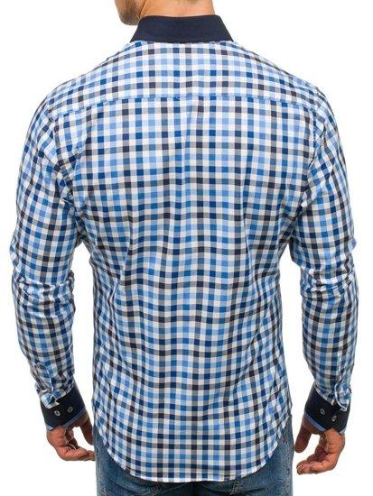 Koszula męska w kratę z długim rękawem granatowa Bolf 8813