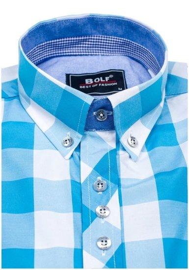 Koszula męska w kratę z długim rękawem turkusowa Bolf 6888