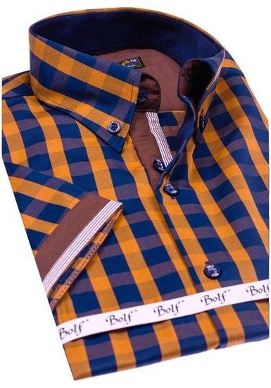 Koszula męska w kratę z krótkim rękawem brązowa Bolf 4508