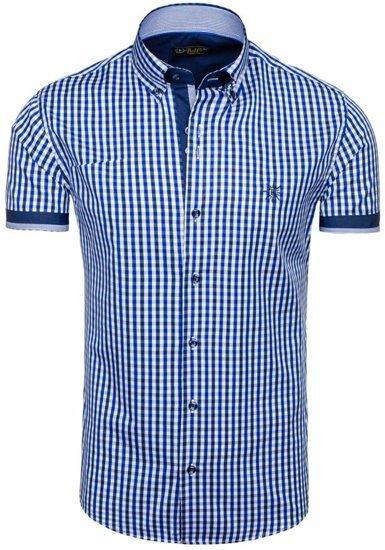 Koszula męska w kratę z krótkim rękawem chabrowa Bolf 4510