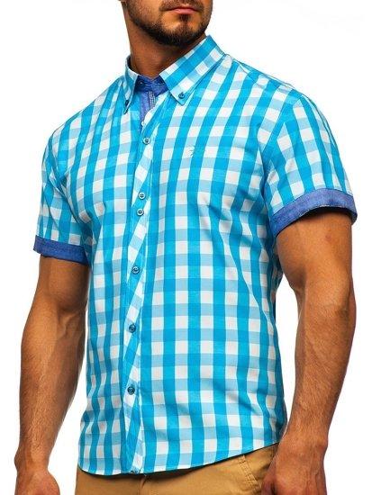 Koszula męska w kratę z krótkim rękawem turkusowa Bolf 6522