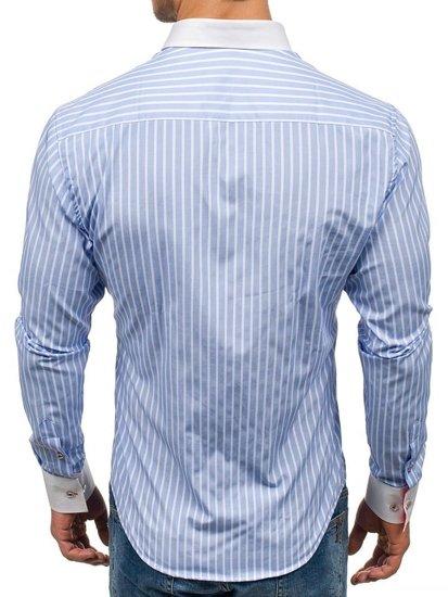 Koszula męska w paski z długim rękawem błękitna Bolf 1771