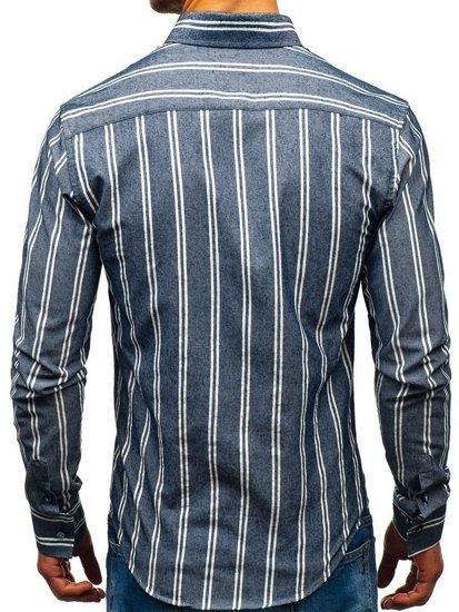 Koszula męska w paski z długim rękawem granatowa Bolf 8836