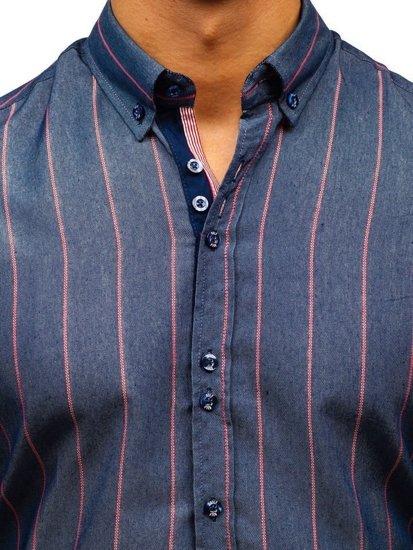 Koszula męska w paski z długim rękawem granatowa Bolf 8837