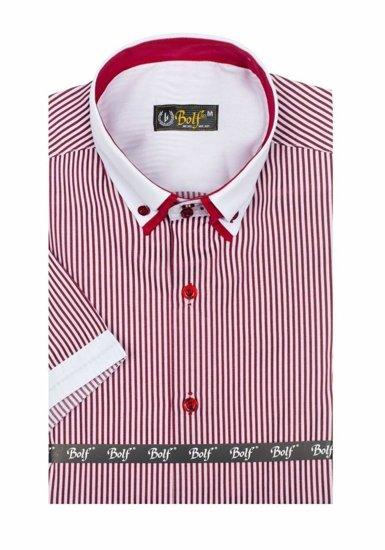 Koszula męska w paski z krótkim rękawem biało-bordowa Bolf 1808
