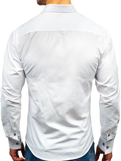 Koszula męska we wzory z długim rękawem biała Bolf 8843