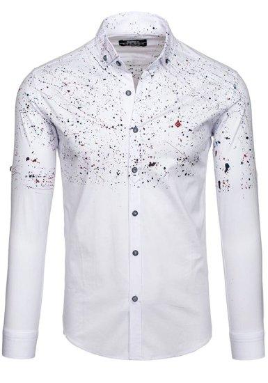 Koszula męska we wzory z długim rękawem biała Denley 1526