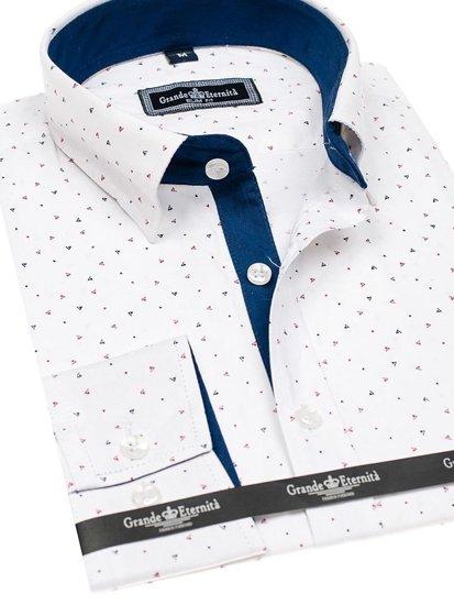 Koszula męska we wzory z długim rękawem biała Denley GE1013
