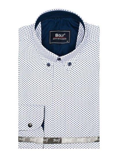Koszula męska we wzory z długim rękawem biało-granatowa Bolf 7715