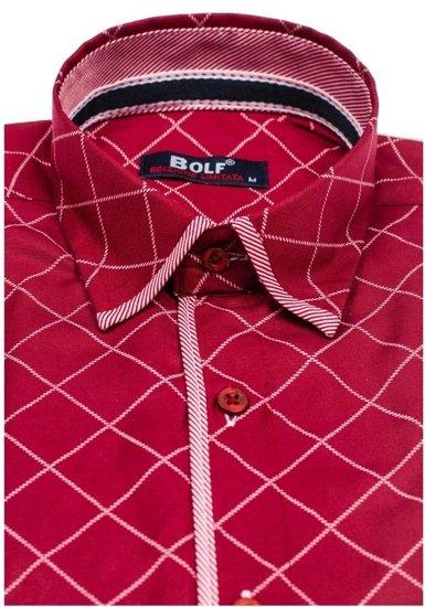 Koszula męska we wzory z długim rękawem bordowa Bolf 1692