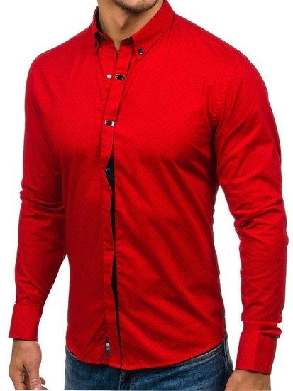 Koszula męska we wzory z długim rękawem czerwona Bolf 7716