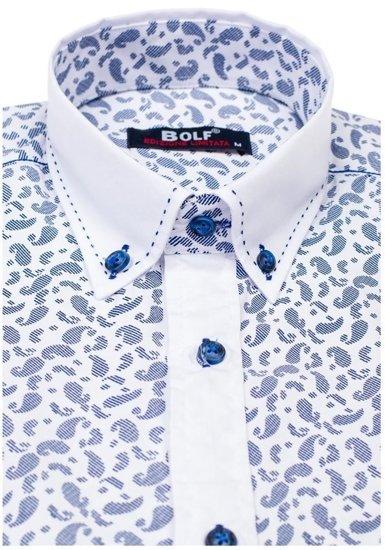 Koszula męska we wzory z długim rękawem niebieska Bolf 6926