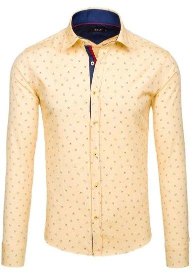 Koszula męska we wzory z długim rękawem żółta Bolf 6886
