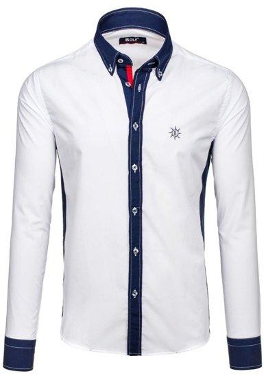 Koszula męska z długim rękawem biała Bolf 6853