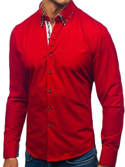 Koszula męska z długim rękawem czerwona Bolf 3762