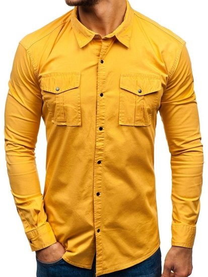 Koszula męska z długim rękawem musztardowa Denley 2058-1