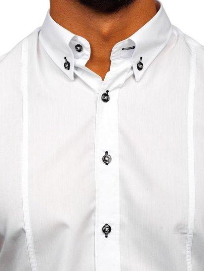Koszula męska z krótkim rękawem biała Bolf 5528