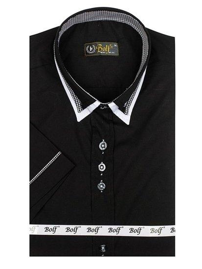Koszula męska z krótkim rękawem czarna Bolf 3520