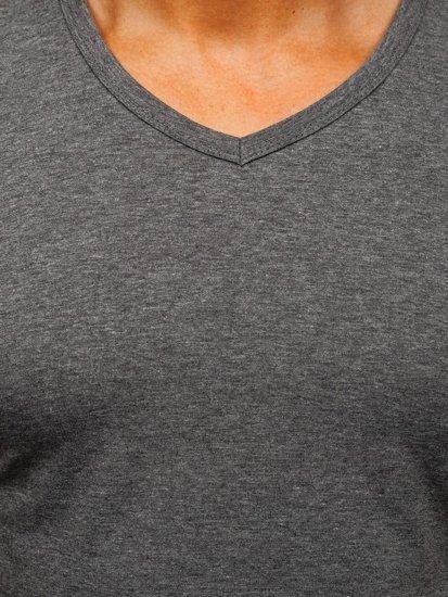 Koszulka męska bez nadruku w serek antracytowa Denley 2007
