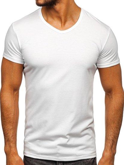 Koszulka męska bez nadruku w serek biała Denley 2007
