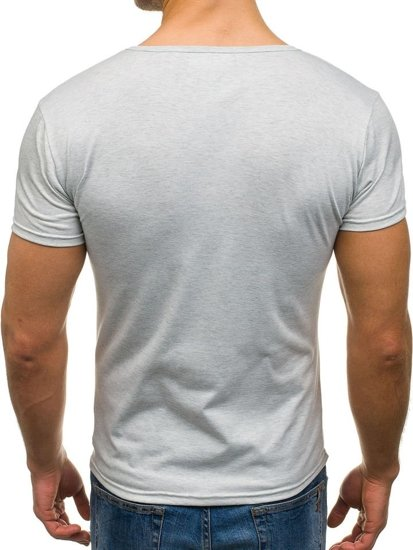 Koszulka męska bez nadruku w serek szara Denley 2007