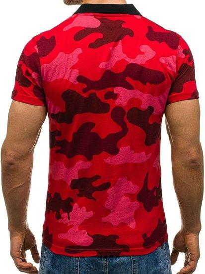 Koszulka polo męska moro-czerwona Denley 1126