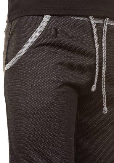 Krótkie spodenki dresowe męskie czarne Denley 0489
