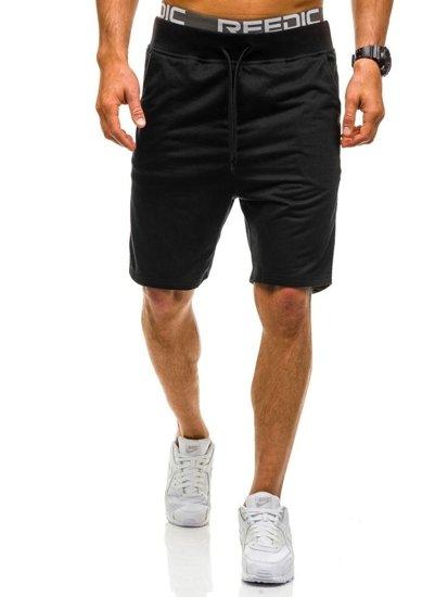 Krótkie spodenki dresowe męskie czarne Denley AA10