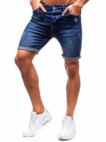 Krótkie spodenki jeansowe męskie granatowe Denley 1059