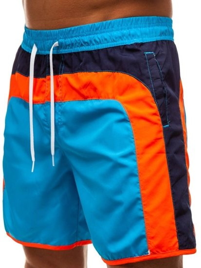 Krótkie spodenki kąpielowe męskie jasnoniebieskie Denley 342