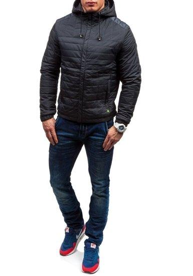 Kurtka męska przejściowa sportowa czarna Denley m503
