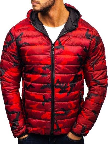 Kurtka męska zimowa sportowa moro-czerwona Denley LY1001-1