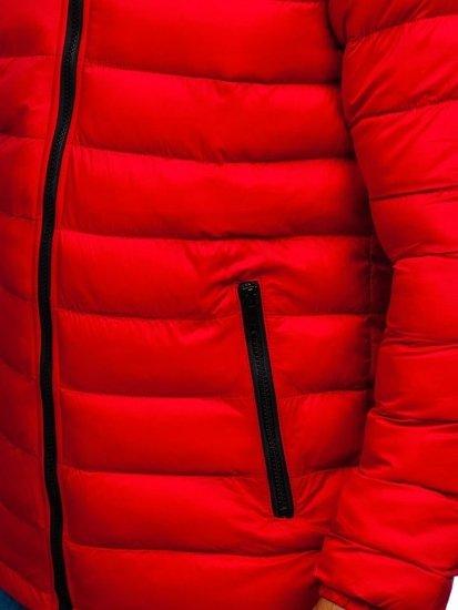 Kurtka męska przejściowa sportowa pikowana czerwona Denley JP1102