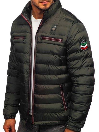 Kurtka męska przejściowa sportowa pikowana khaki Denley 50A171