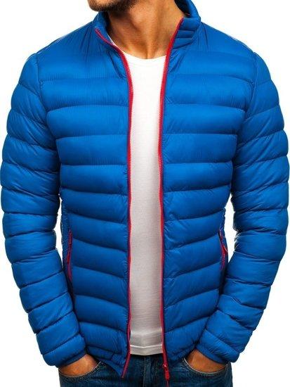 Kurtka męska przejściowa sportowa pikowana niebieska Denley SM50