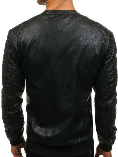 Kurtka męska skórzana czarna Denley 8803