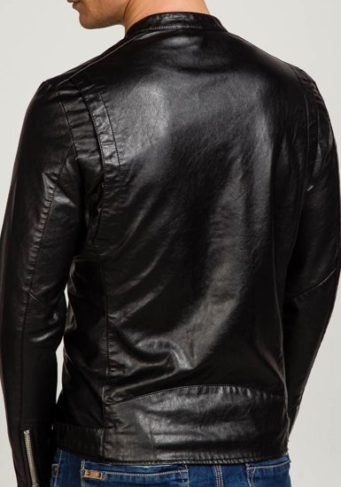 Kurtka męska skórzana czarna Denley 8977