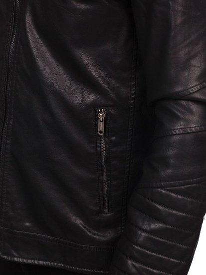 Kurtka męska skórzana czarna Denley EX702
