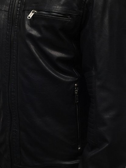 Kurtka męska skórzana czarna Denley EX834