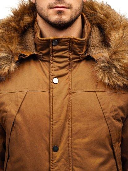 Kurtka męska zimowa parka camelowa Denley R106