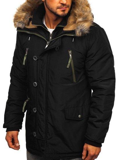 Kurtka męska zimowa parka czarna Denley 1045A