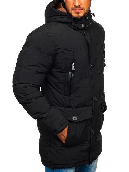 Kurtka męska zimowa parka czarna Denley 1097