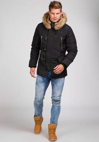 Kurtka męska zimowa parka czarna Denley 3150