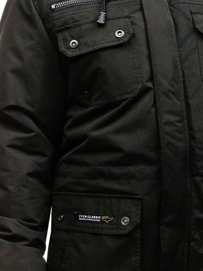 Kurtka męska zimowa parka czarna  Denley 4960